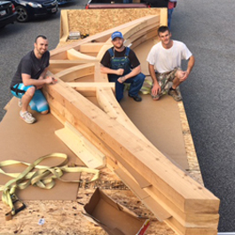 Huge custom cedar gable arches